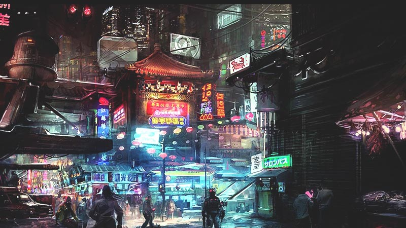 futuristic steampunk world of cyberpunk 2077